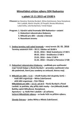 Mimořádná schůze výboru SDH Radvanice v pátek 13.11.2015 od