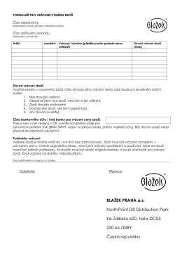 Formulář pro vrácení/výměnu zboží