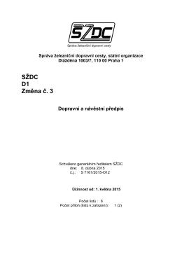 SZDC D1 zmena c_3 - Portál provozování dráhy