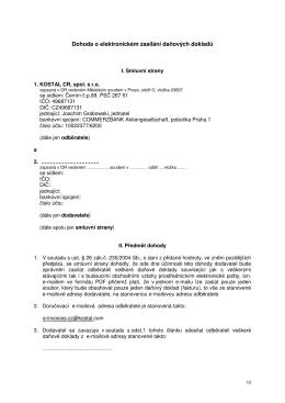 Dohoda o elektronickém zasílání daňových dokladů