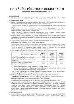 Prováděcí předpisy k registracím sekce OB 2016