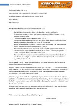 Obchodní podmínky elektronického obchodu - Keška