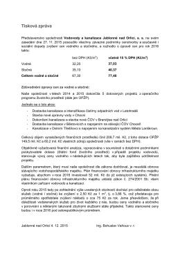 Oznámení o změně ceny vodného a stočného od 1. ledna 2016