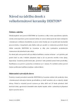 Návod - údržba desek DEKTON