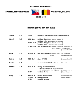 Program pobytu Zlín (září 2015)