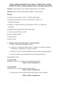 Zápis z jednání zastupitelstva obce Skryje č. 4/2015, které se konalo