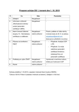 Program schůze OS 1, konané dne 1. 10. 2015
