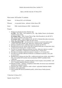 Zápis ze zasedání Školské rady 10. března 2015