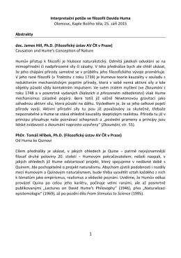 Interpretační potíže ve filozofii Davida Huma Olomouc, Kaple Božího