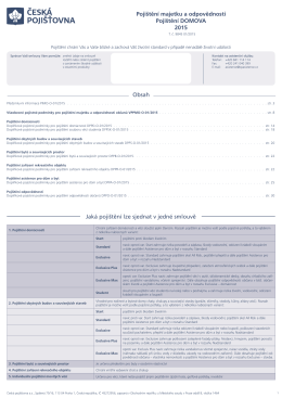Pojištění DOMOVA - Česká pojišťovna