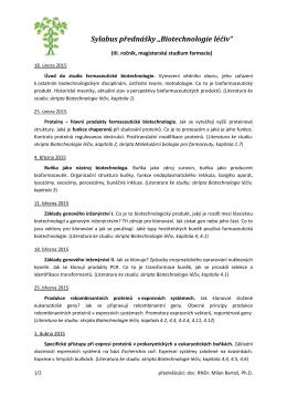 """Sylabus přednášky """"Biotechnologie léčiv"""""""