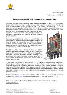 Rekonstrukce kotlů K1, K2 vstupuje do své poslední fáze