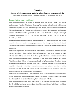 Zpráva o podnikatelské činnosti Pharmos 2014