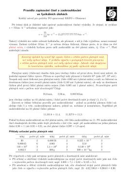 Pravidla zapisování čísel a zaokrouhlování ve fyzikálních úlohách