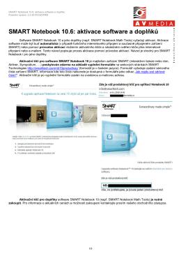 SMART Notebook 10.6: aktivace software a doplňků