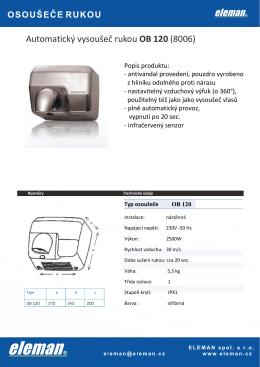 Automatický vysoušeč rukou OB 120 (8006)