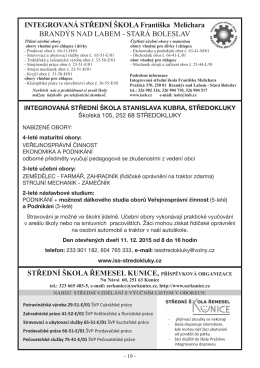 Integrovaná SŠ Stanislava Kubra, Středokluky, Školská 105, 252 68