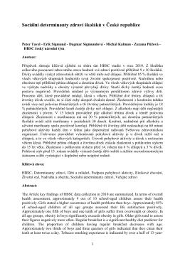Sociální determinanty zdraví školáků v České republice