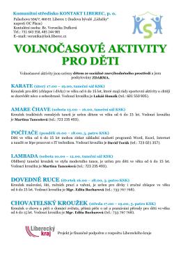 volnočasové aktivity pro děti - Komunitní středisko Kontakt Liberec po