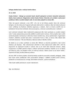 Salinger předává žezlo v realizaci letního tábora 18. 12. 2015