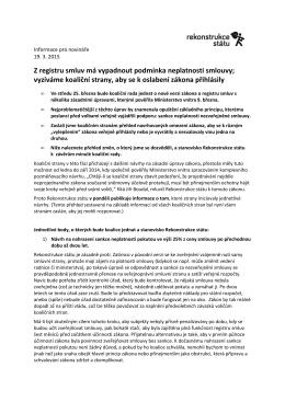 Z registru smluv má vypadnout podmínka neplatnosti smlouvy
