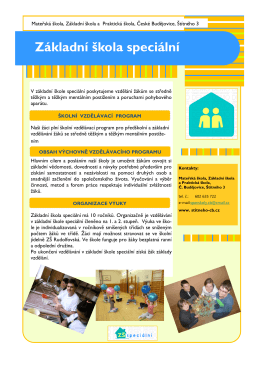 ZŠ speciální - MŠ, ZŠ a Praktická škola České Budějovice, Štítného