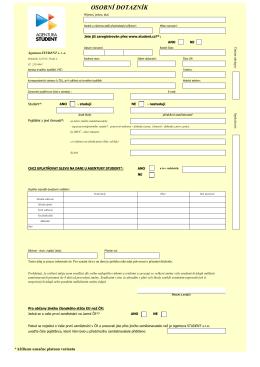 Osobní dotazník - Agentura STUDENT