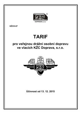 Tarif pro veřejnou drážní osobní dopravu