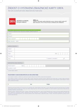 Žádost o vydání ORFA karty