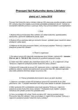 Provozní řád Kulturního domu Libňatov platný od 1. ledna 2016