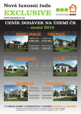 Typový rozsah dodávky pro domy Exclusive model 2016