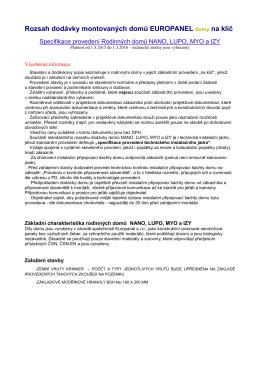 Rozsah dodávky montovaných domů EUROPANEL domy na klíč