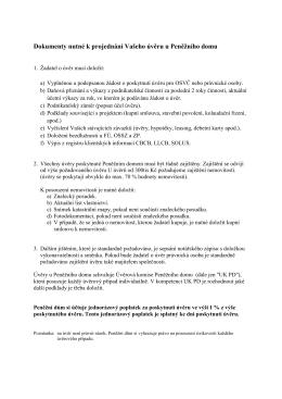 Dokumenty nutné k projednání Vašeho úvěru u Peněžního domu