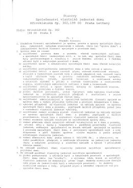 Stanovy Společenství vlastníků jednotek domu Křivoklátská čp. 302