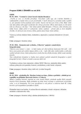 Program DOMU U ŠRANĚK na rok 2016 LEDEN 05. 01