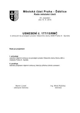 177/15/RMČ ke smlouvě na pronájem prostor Obecního domu DDM