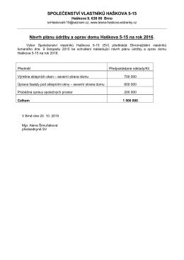 Plán oprav 2016 - Společenství vlastníků Haškova 5