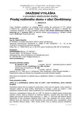 Prodej rodinného domu v obci Osvětimany