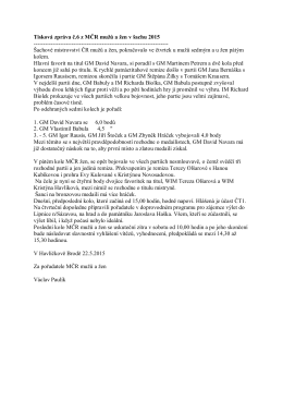 Tisková zpráva č.6 z MČR mužů a žen v šachu 2015
