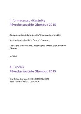 Informace pro účastníky Pěvecké soutěže Olomouc 2015