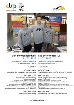 Den otevřených dveří 11. 02. 2016 Tag der offenen Tür 11. 02. 2016