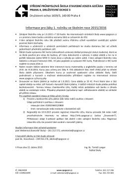 Informace pro žáky 1. ročníku ve školním roce 2015/2016