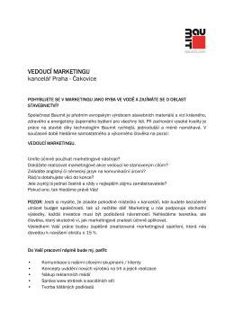 VEDOUCÍ MARKETINGU kancelář Praha - Čakovice