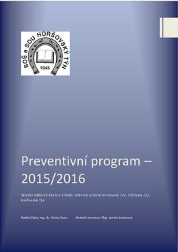 Preventivní program – 2015/2016