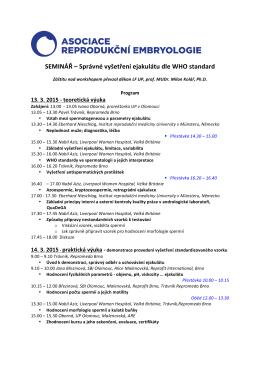 SEMINÁŘ – Správné vyšetření ejakulátu dle WHO standard