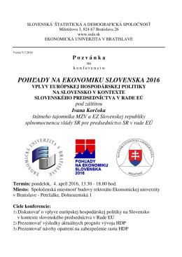 Pozvánka na konferenciu - Slovenská štatistická a demografická