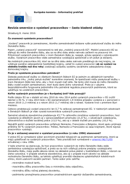 Revízia smernice o vysielaní pracovníkov – často