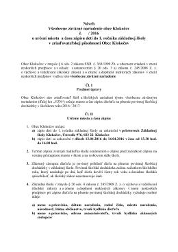 Návrh Všeobecne záväzné nariadenie obce Klokočov č. / 2016 o