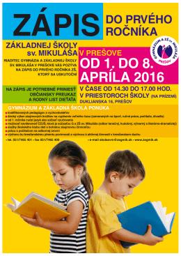od 1. do 8. apríla 2016 - Gymnázium a ZŠ sv. Mikuláša