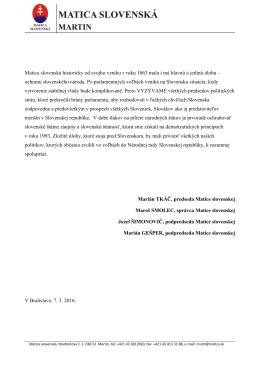 Vyhlásenie  - Matica Slovenská